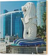 The Merlion  Fountain - Singapore. Wood Print