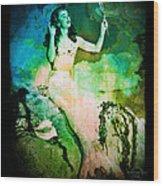 The Mermaid Mirror Wood Print