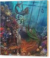 The Mermaids Treasure Wood Print