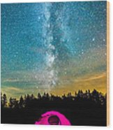 The Midnight Camper Pink Tent Wood Print