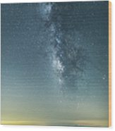 The Milky Way Hovering Above A Town Wood Print