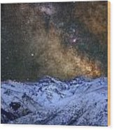 The Milky Way Over The High Mountains Wood Print