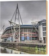 The Millennium Stadium With Flag Wood Print