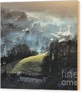 The Mist Covered Valley Wood Print