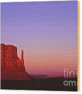 The Mittens At Sunset Monument Valley Wood Print