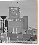 The Molson Clock Montreal Wood Print by Reb Frost