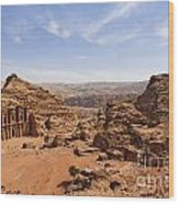 The Monastery And Landscape At Petra In Jordan Wood Print by Robert Preston