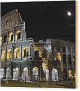 The Moon Above The Colosseum No1 Wood Print