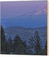 The Moon Beside Mt. Hood Wood Print