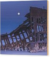 The Moon Sets Over The Wreck Wood Print