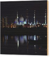 The Moonlit Mosque Wood Print by Farah Faizal