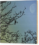 The Morning Moon Wood Print