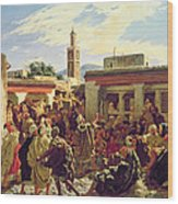The Moroccan Storyteller Wood Print by Alfred Dehodencq