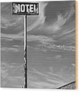 The Motel Bw Palm Springs Wood Print