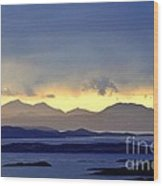 The Mountains Of Mull Seen Over The Sound Of Jura Inner Hebrides Scotland From Above Crinan Wood Print