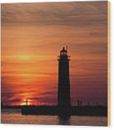 The Muskegon Lighthouse An A Lone Man Fishing Wood Print