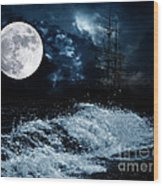 The Mysterious Moon Wood Print by Boon Mee