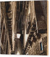 Narrow Street In Albarracin Wood Print