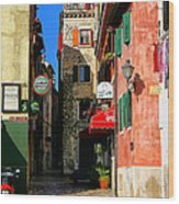 The Narrow Streets Of Rovinj Croatia Wood Print