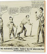 The National Game - Abraham Lincoln Plays Baseball Wood Print