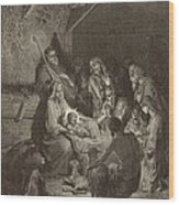 The Nativity Wood Print by Antique Engravings