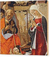 The Nativity With The Annunciation To The Shepherds In The Distance Wood Print