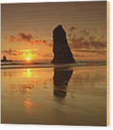 The Needles At Haystack - Cannon Beach Sunset  Wood Print