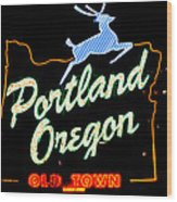 The New Portland Oregon Sign At Night With White Lights Wood Print by DerekTXFactor Creative