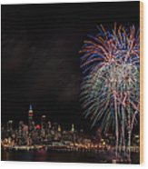 The New York City Skyline Sparkles Wood Print by Susan Candelario