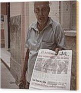 The Newspaper Seller Wood Print
