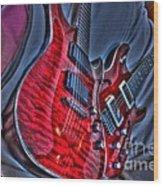 The Next Red Thing Digital Guitar Art By Steven Langston Wood Print