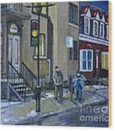The Night Shift Waiting For The Bus Wood Print