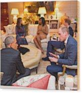 The Obamas Dine At Kensington Palace Wood Print