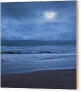 The Ocean Moon Square Wood Print by Bill Wakeley
