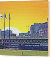 The Old And New Yankee Stadiums Side By Side At Sunset Wood Print