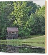 The Old Barn On The Pond Wood Print