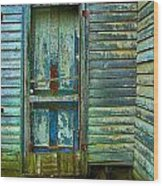 The Old Blue Door Wood Print