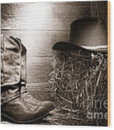 The Old Boots Wood Print by Olivier Le Queinec