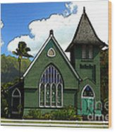 The Old Church In Hanalei Wood Print