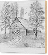 The Old Country Barn Wood Print by Syl Lobato