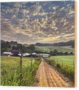 The Old Farm Lane Wood Print by Debra and Dave Vanderlaan