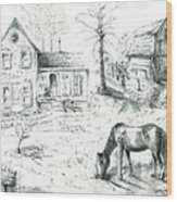 The Old Horse Farm Wood Print