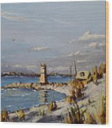 The Old Lighthouse At Rockaway Point Wood Print