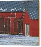 The Old Red Barn In Winter Wood Print