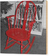 The Old Red Rocking Chair Wood Print