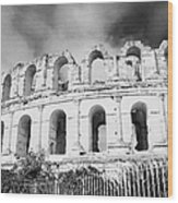 The Old Roman Colloseum Against Blue Cloudy Sky El Jem Tunisia Wood Print