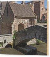 The Old Stone Bridge In Bruges Wood Print