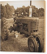 The Old Tractor Sepia Wood Print