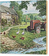 The Old Tractor Wood Print