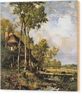 The Old Windmill Near Barbizon Wood Print